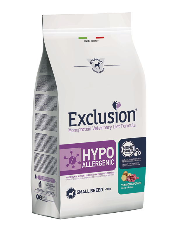 EXCLUSION MONOPROTEIN VET DIET  HYPOALLERGENIC Cervo e Patate  SMALL BREED 2kg