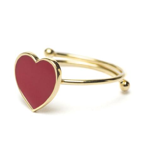 Anello Cuorepuro, dorato cuore 1 cm smalto rosso