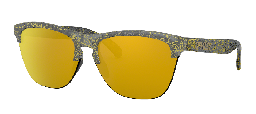 Oakley - Occhiale da Sole Uomo, Frogskins™ Lite Metallic Splatter Collection, Splatter Crystal Black/24k Iridium  OO9374-3063  C63