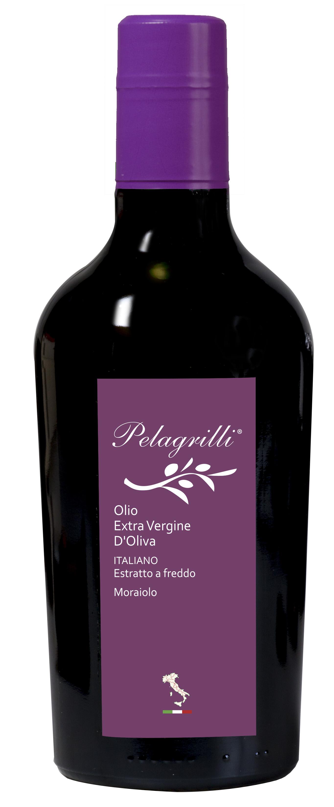 MORAIOLO 100% ITALIANO Monocultivar LT 0,5  Olio extravergine di oliva- estratto a freddo- Raccolto 2019-2020-FILTRATO