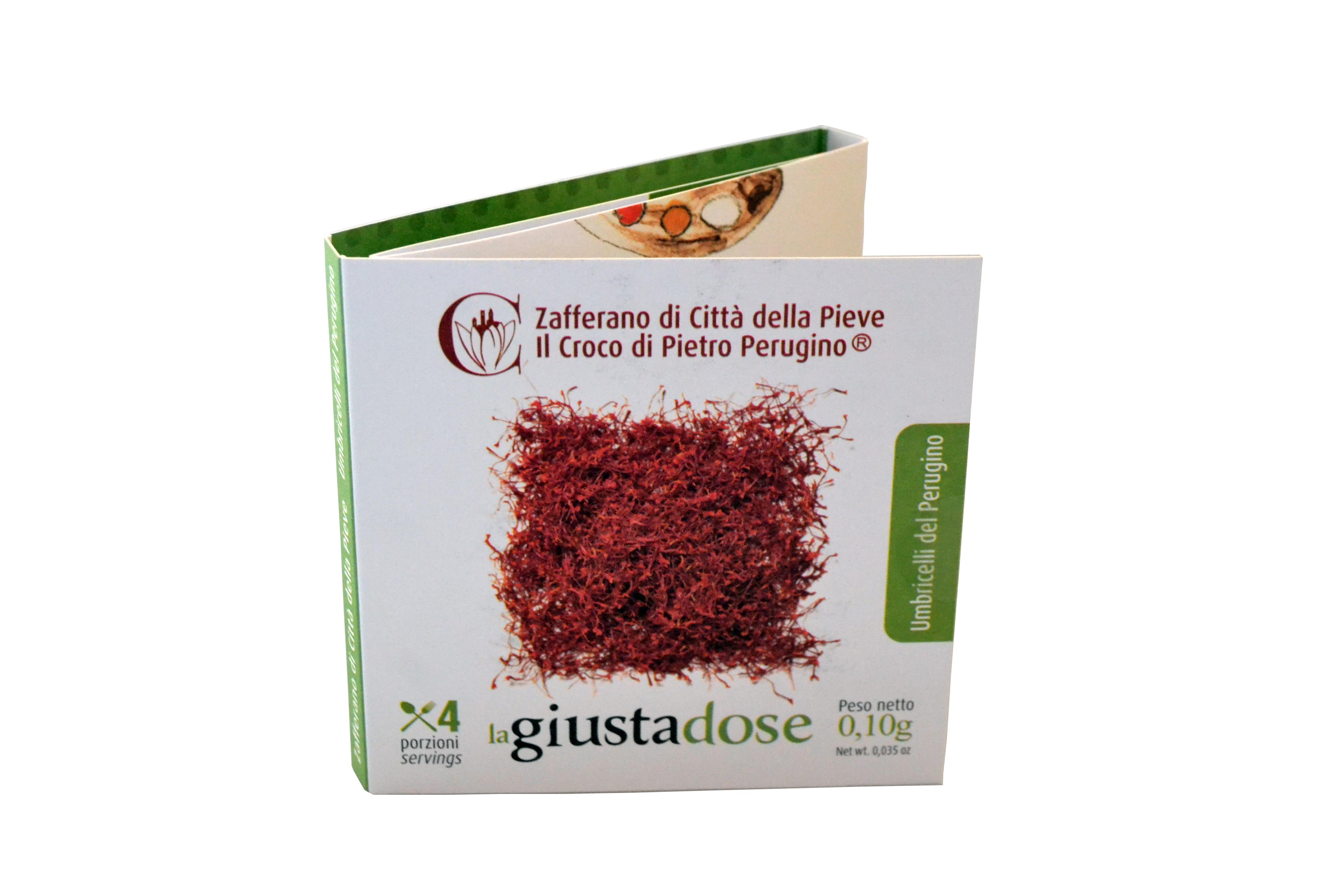 Zafferano di Città della Pieve in pistilli prodotto in Umbria - confezione monodose gr 0,10