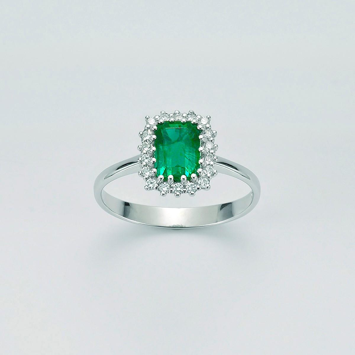 MILUNA-Anello smeraldo e diamanti