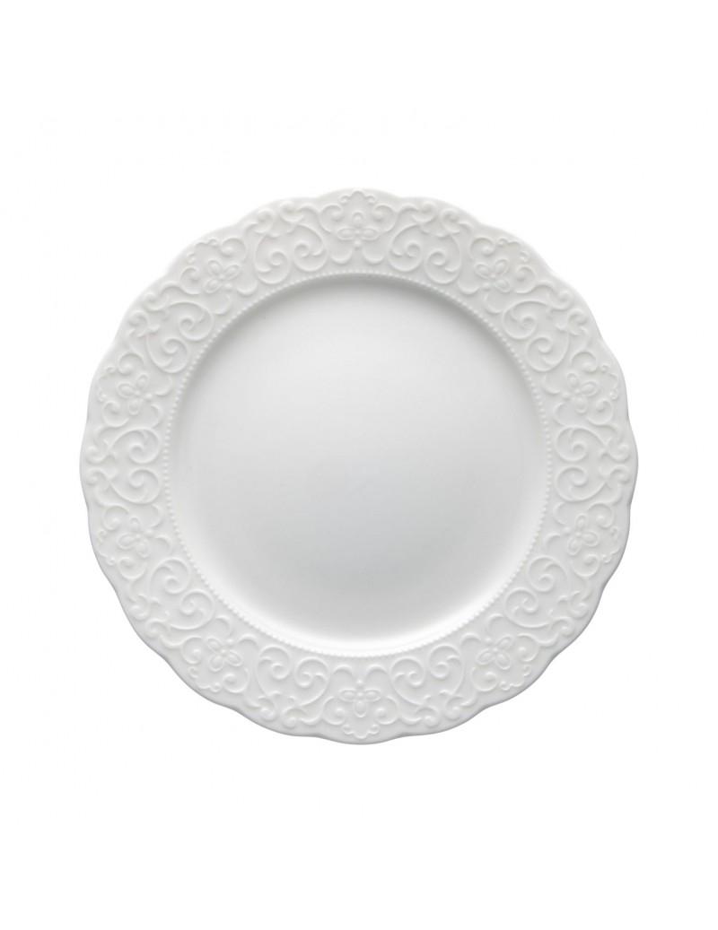 Piatto frutta in porcellana con decori in rilievo Gran galà