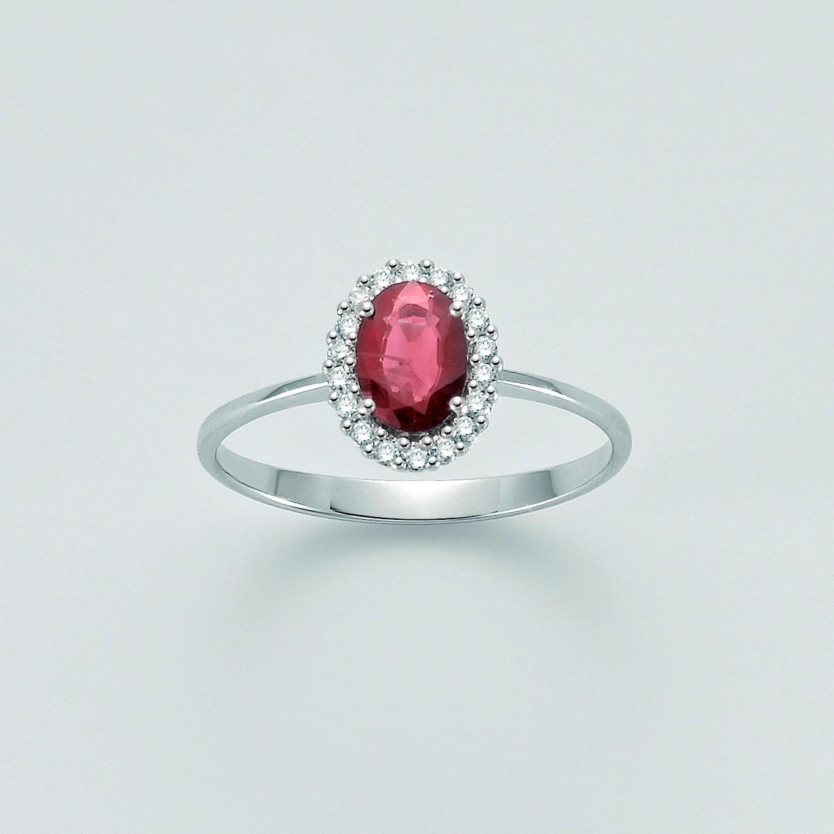 Miluna-Anello con rubino e brillanti