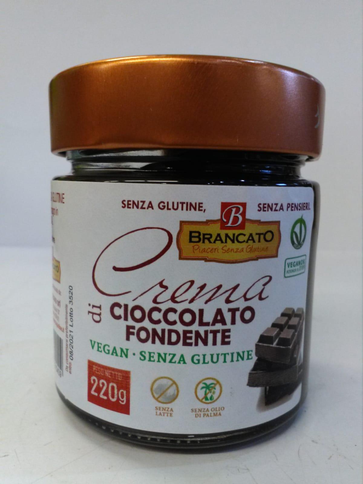 Crema di cioccolato fondente senza glutine e vegana