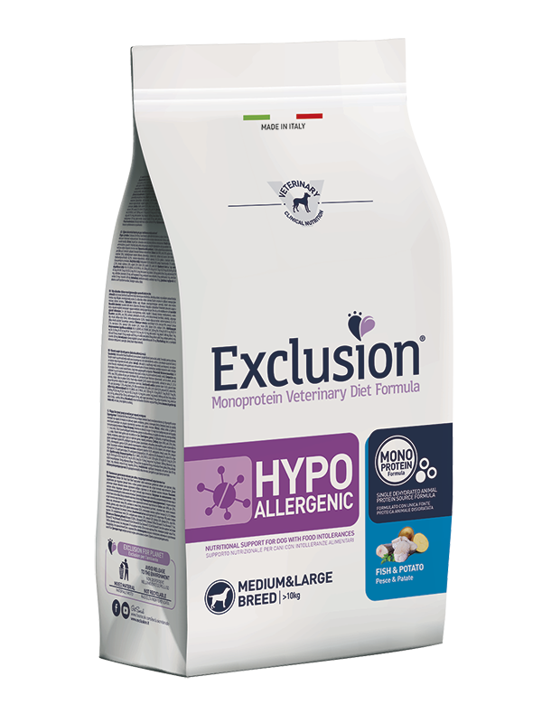 EXCLUSION MONOPROTEIN VET DIET  HYPOALLERGENIC PESCE E PATATE MEDIUM&LARGE BREED 12kg