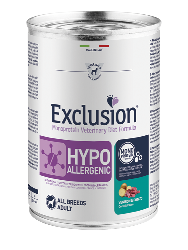 EXCLUSION MONOPROTEIN VET DIET  HYPOALLERGENIC CERVO E PATATE  ALL BREEDS 400gr