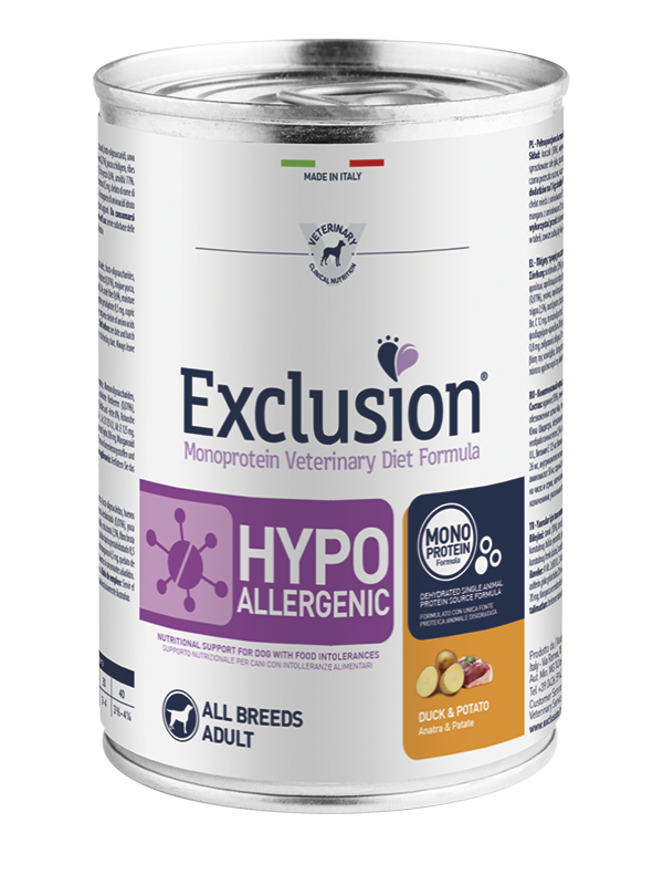 EXCLUSION MONOPROTEIN VET DIET  HYPOALLERGENIC ANATRA E PATATE  ALL BREEDS 400gr
