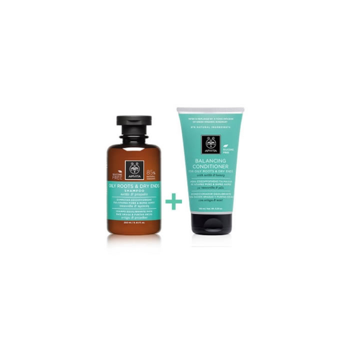 Apivita Pack Shampoo Fat Roots And Dry Tips 250ml + Conditioner