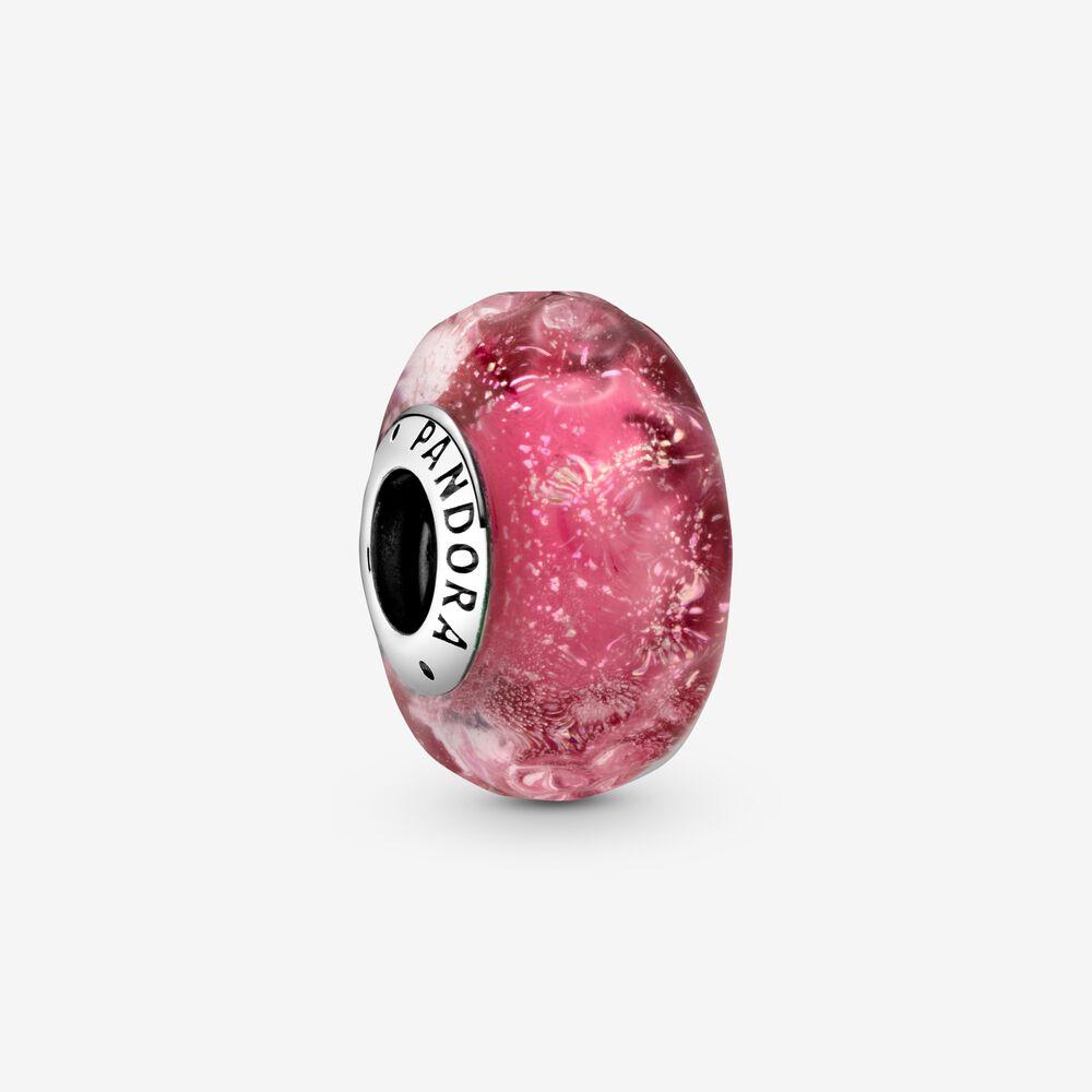 Charm in vetro di Murano rosa con onde