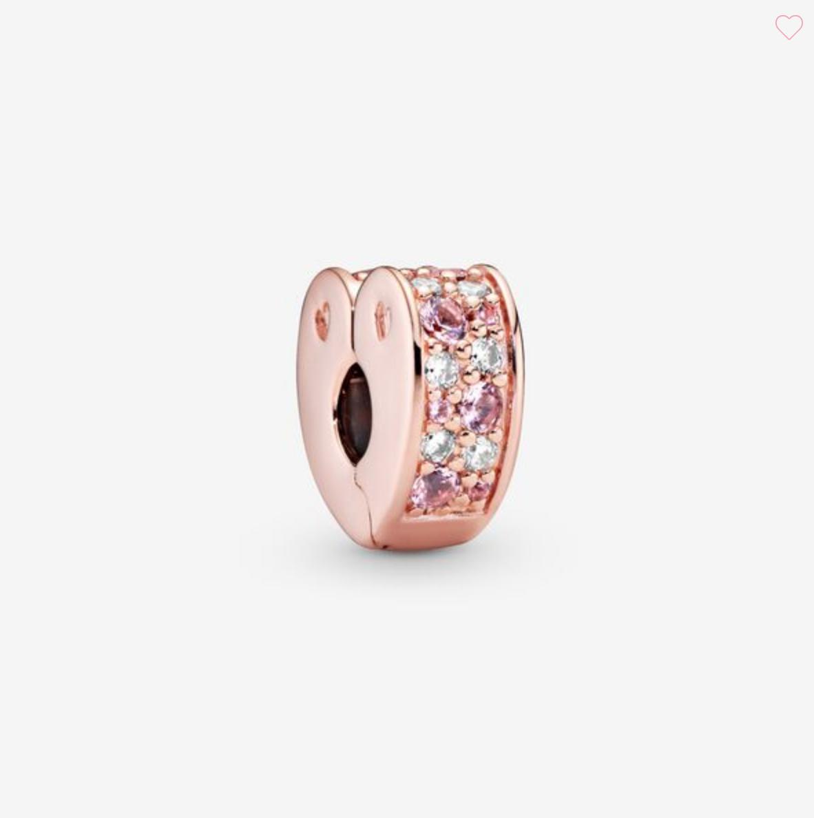 Clip a cuore con pavè rosa