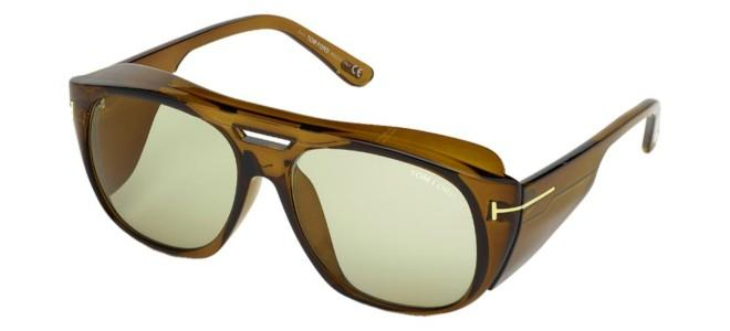 Tom Ford - Occhiale da Sole Uomo, FENDER, Brown/Green Shaded FT0799  48N  C59