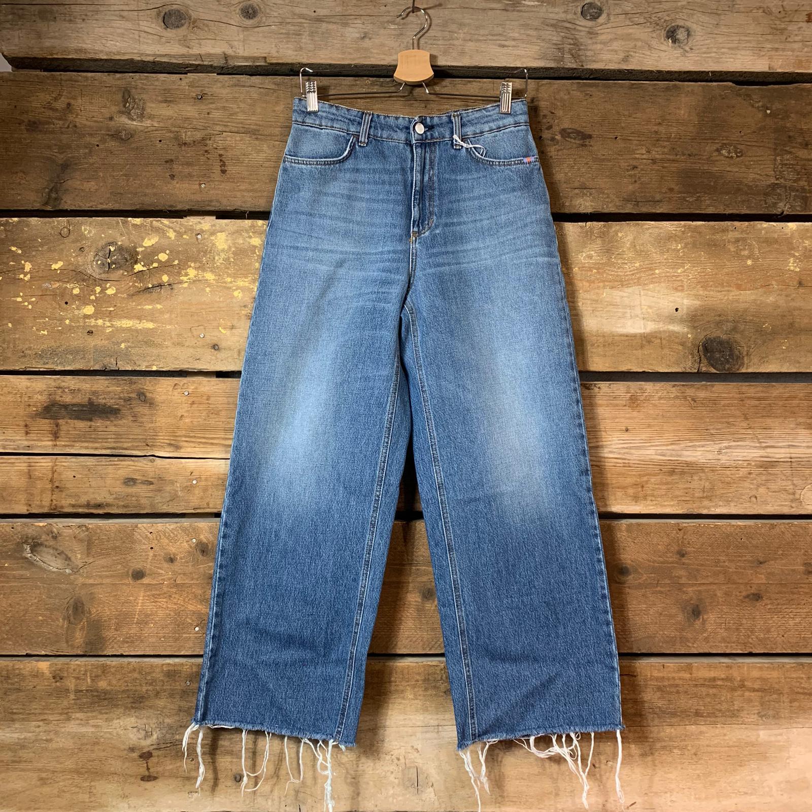 Jeans Amish Supply Donna Linda Adon  con Fondo a Taglio Vivo Blu