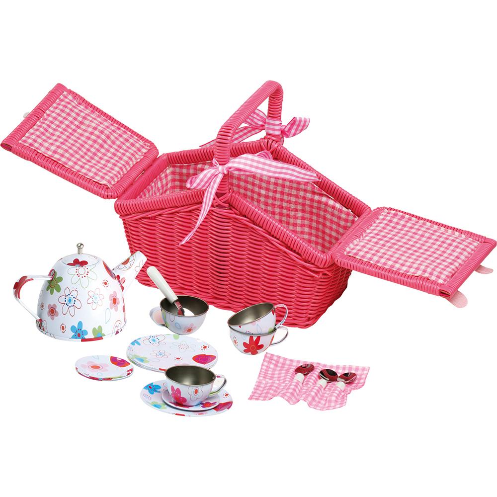 Cestino picnic rosa a fiori