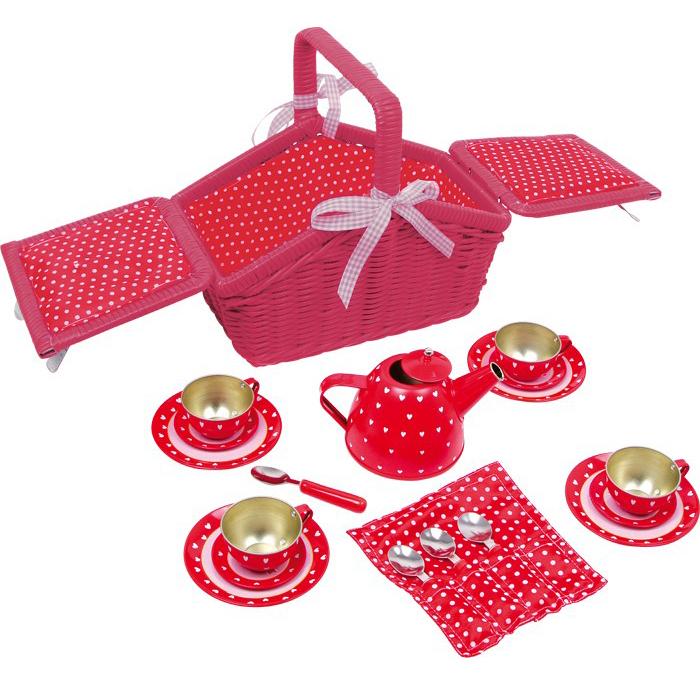 Cestino picnic rosso cuori