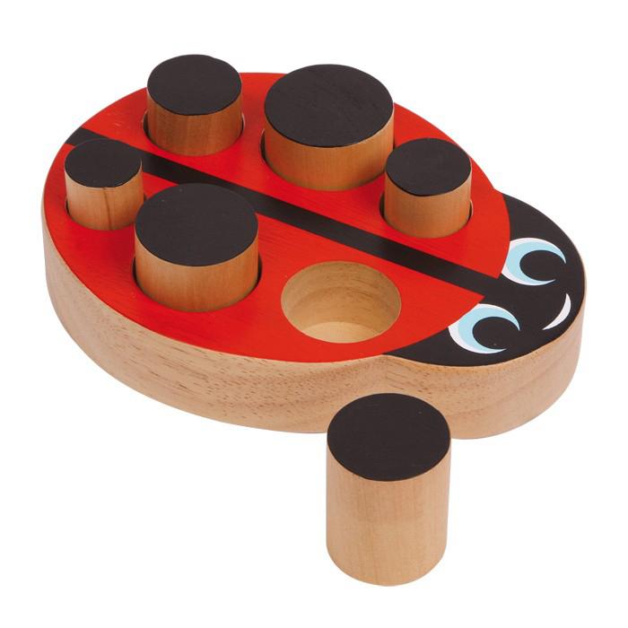 Coccinella in legno a incastro