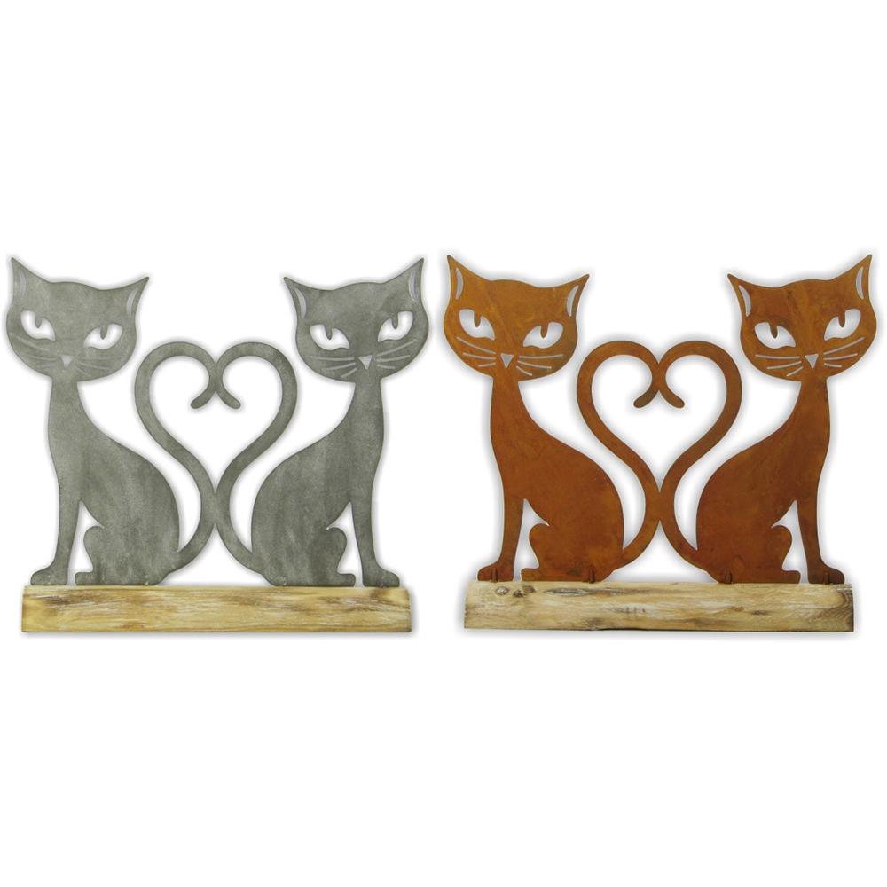 Coppia gatti coda a cuore legno e metallo