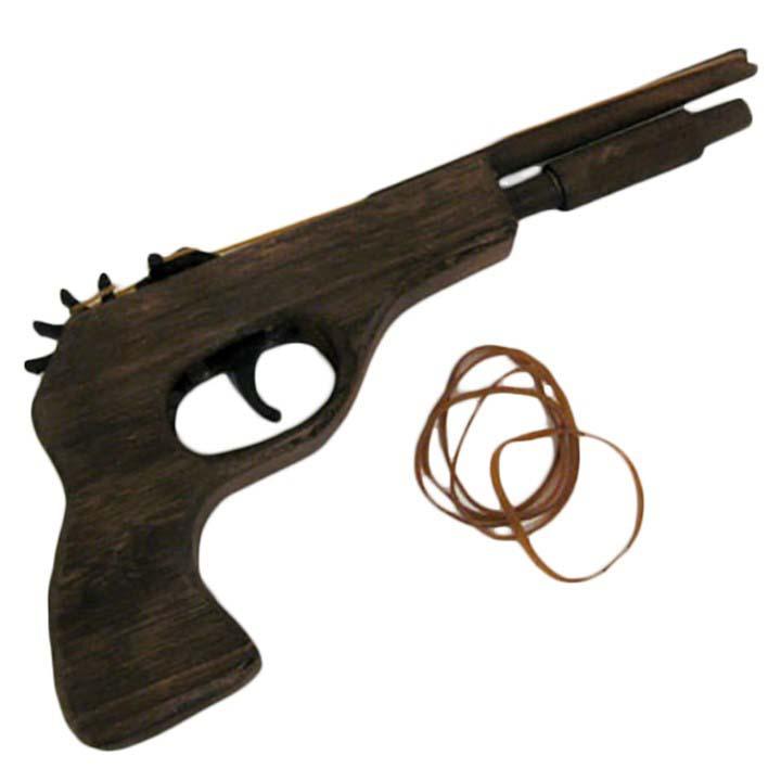 Pistola in legno 'con silenziatore'