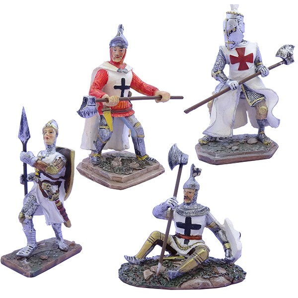 Cavalieri templari medievali varie pose h10