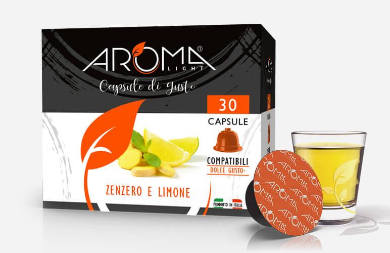 30 Capsule Zenzero e Limone Aroma Light compatibili Dolce Gusto