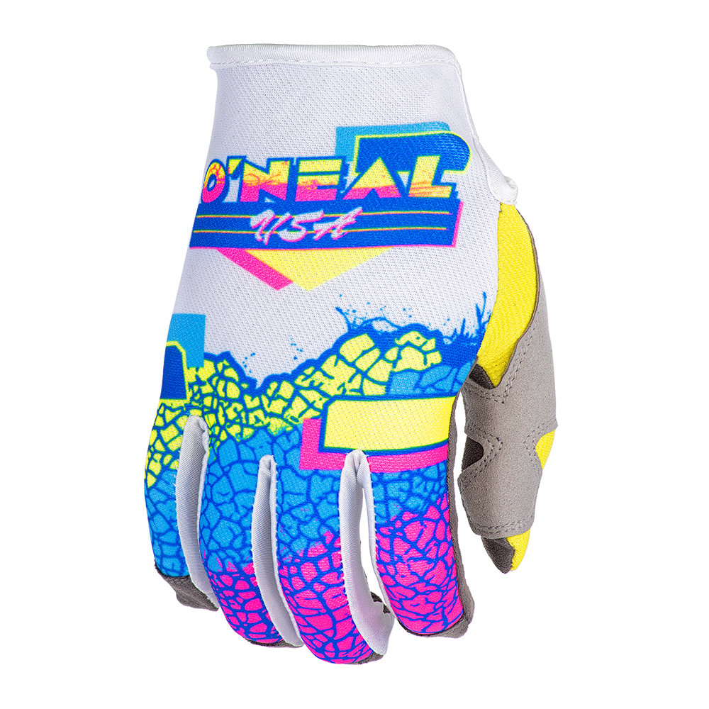 O`NEAL MAYHEM GLOVE CRACKLE 91 YELLOW/WHITE/BLUE