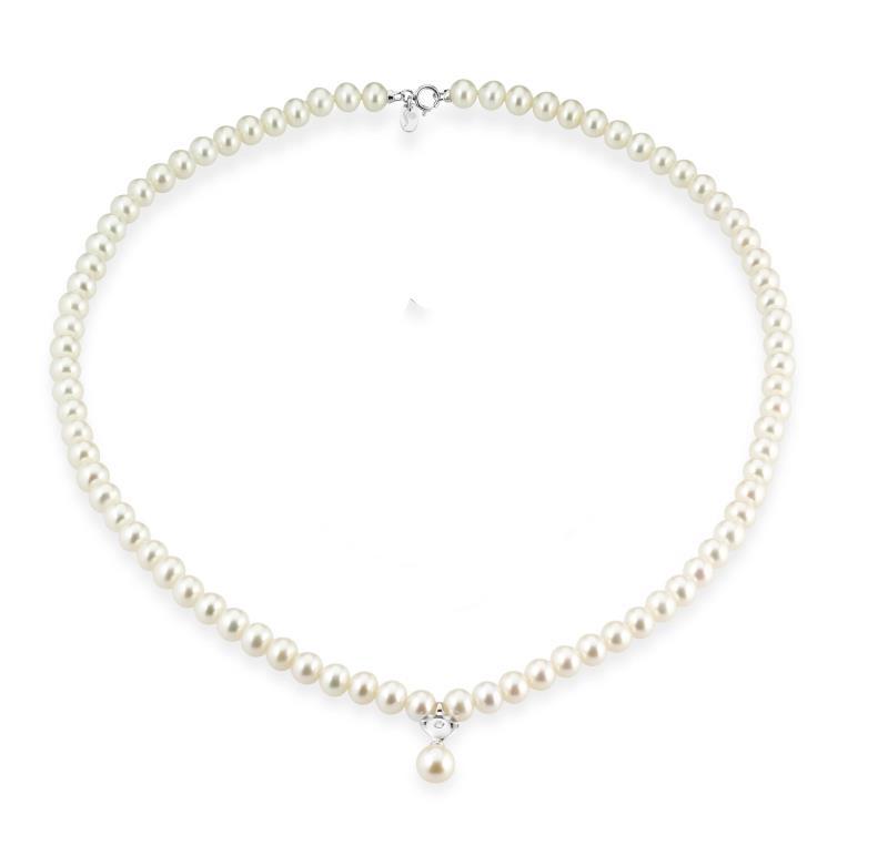 TRAMONTANO - Collana perle VERE con cuore oro e diamante
