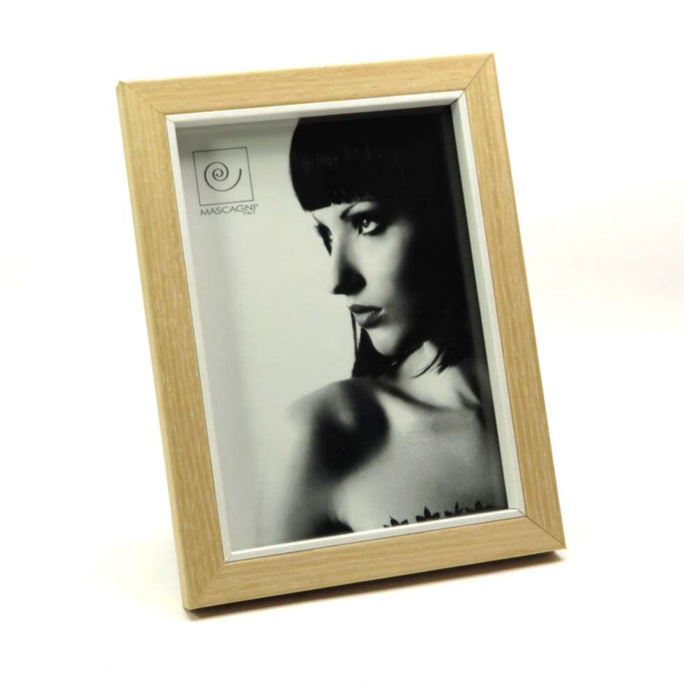 Porta foto in legno con bordo interno bianco 13x18