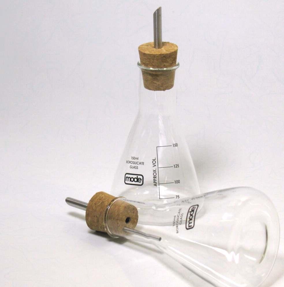 Coppia ampolline olio e aceto in vetro