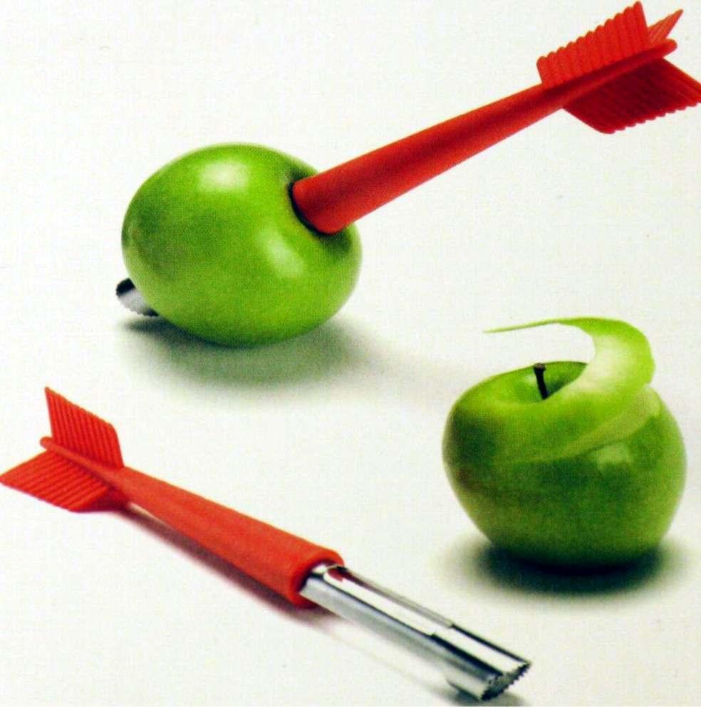Pelino e scavino per le mele con forma di freccia.