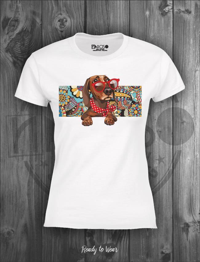 T-shirt in puro cotone manica slim soggetto bassotto Narciso.