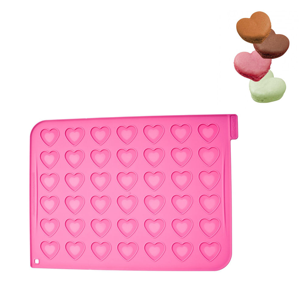 SILIKOMART Tappeto Macarons A Cuore Con Piping Bag