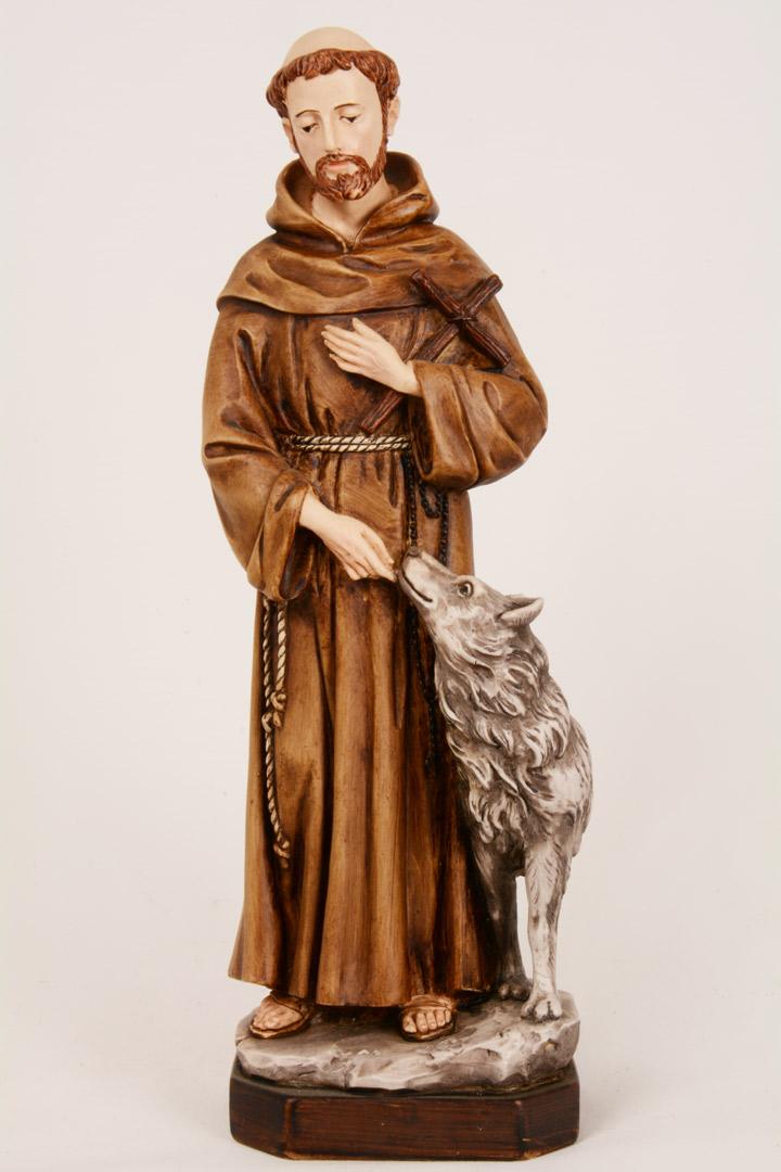 Statua S. Francesco con Lupo h 30 PASQ630