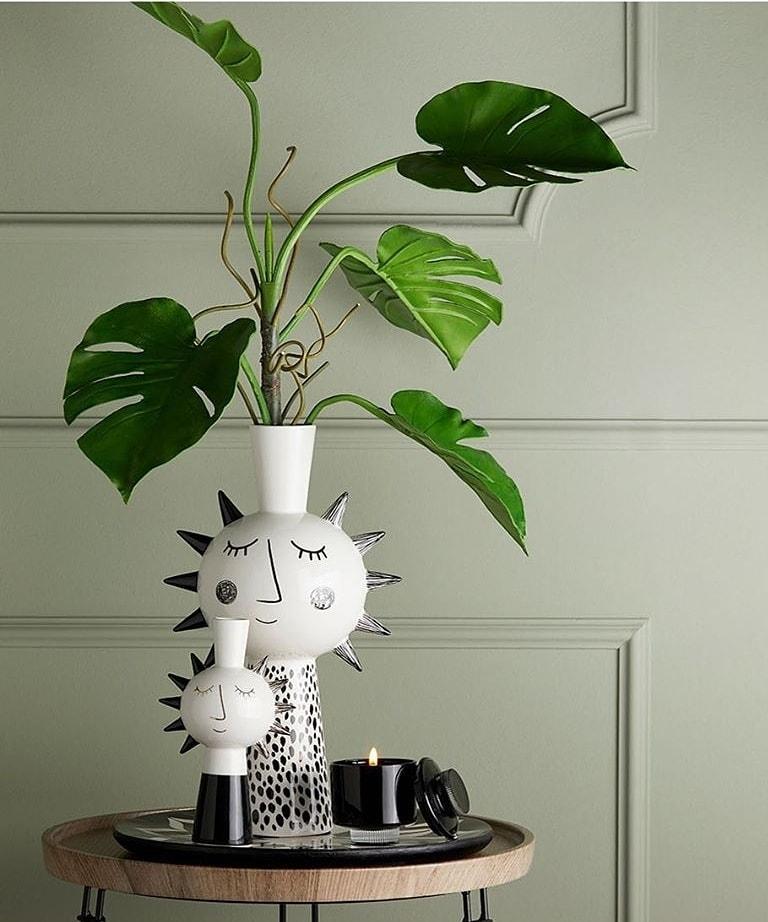 Vaso ceramica Edg stilizzato nero grande