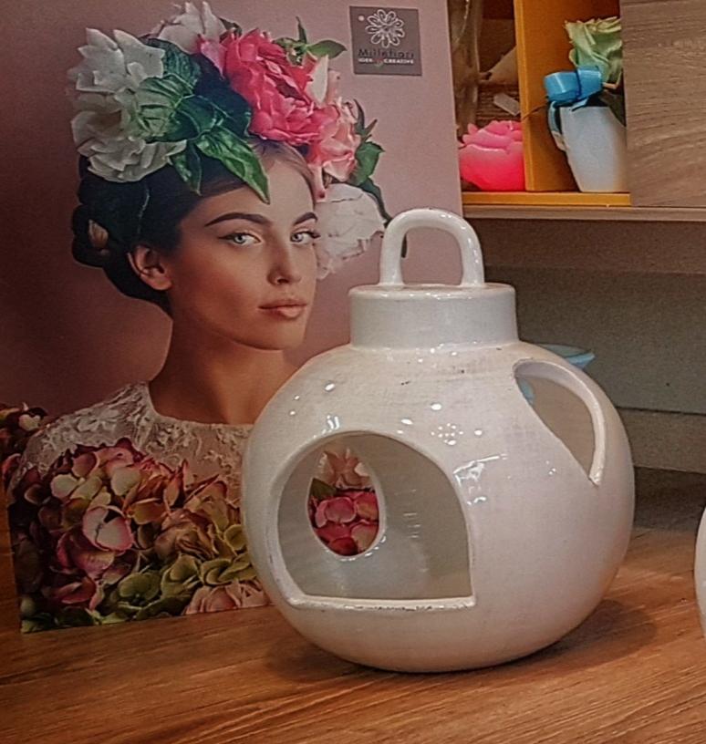 Lanterna ceramica Toscana Montelupo bianca goccia