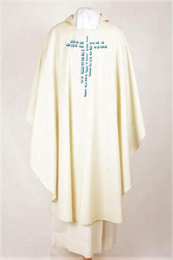 Casula Concelebrazione CE115T Bianca - Croce Celeste - Pura Lana