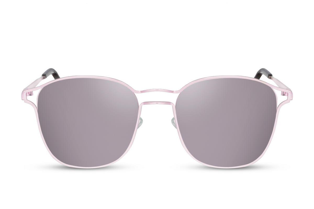 Occhiale da sole colore rosa con lente a specchio