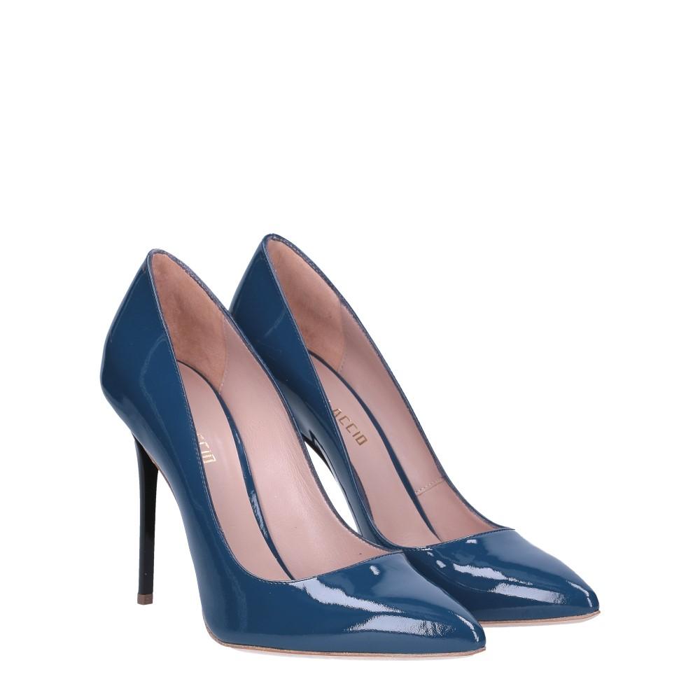 Il Laccio décolleté sfilato in vernice blu jeans tacco 100