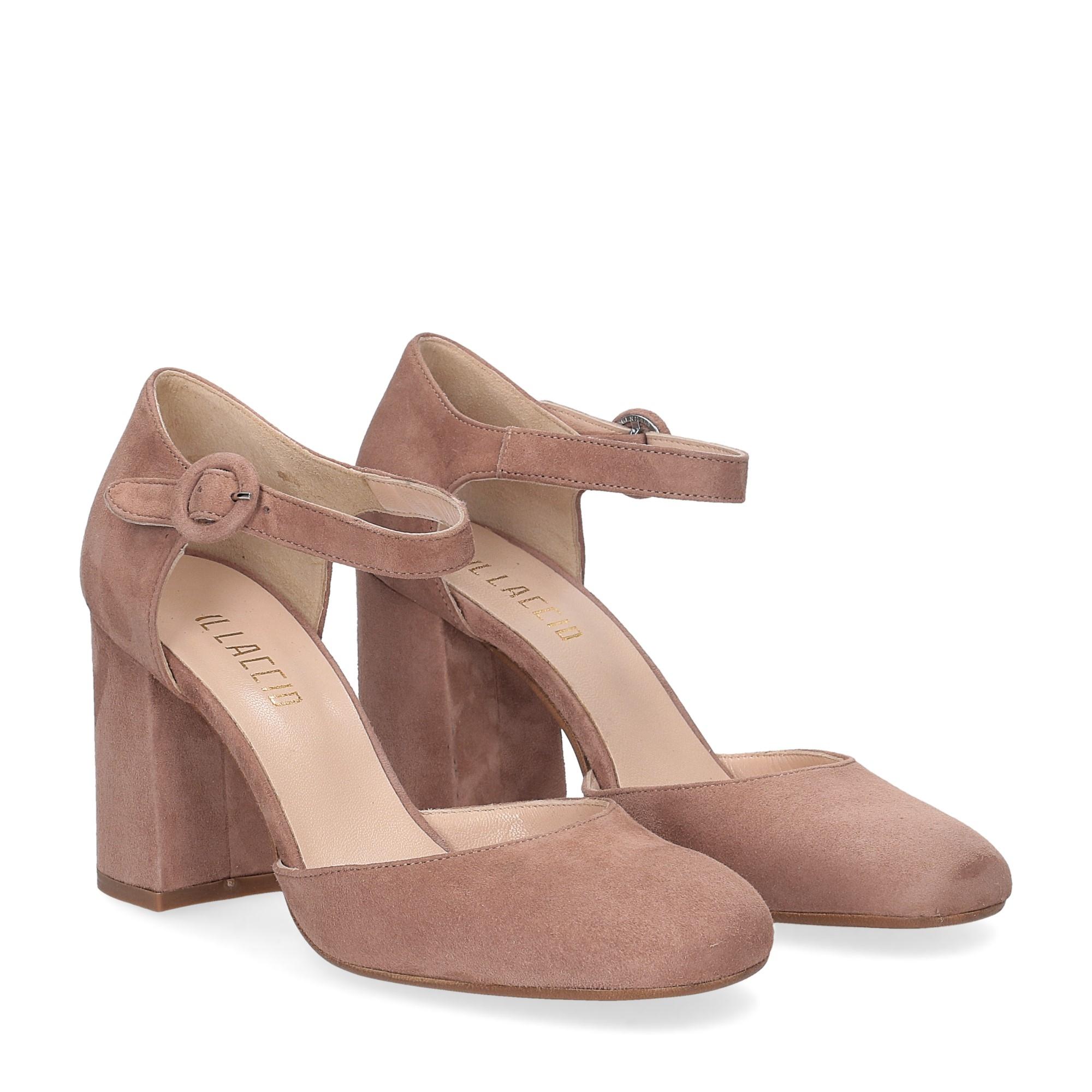 Il laccio sandaliera camoscio rosa