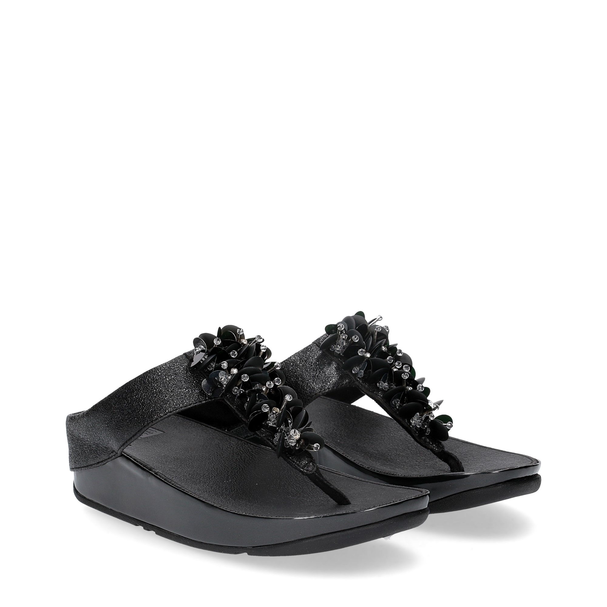 Fitflop boogaloo toe post black leather