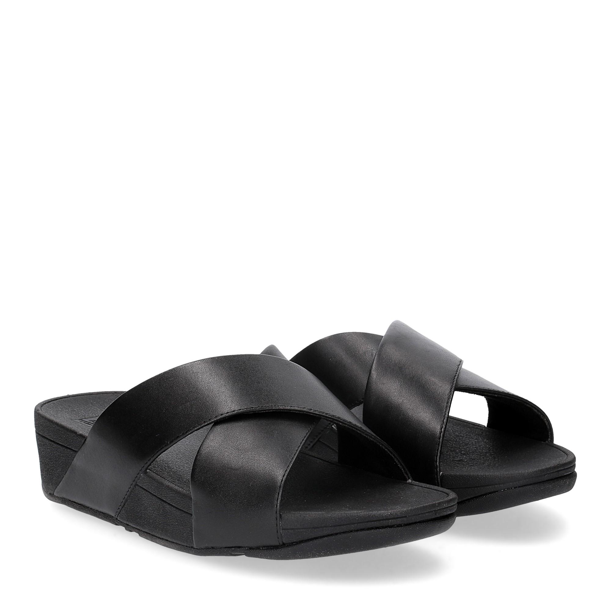 Fitflop LULU CROSS SLIDE SANDALS leather black