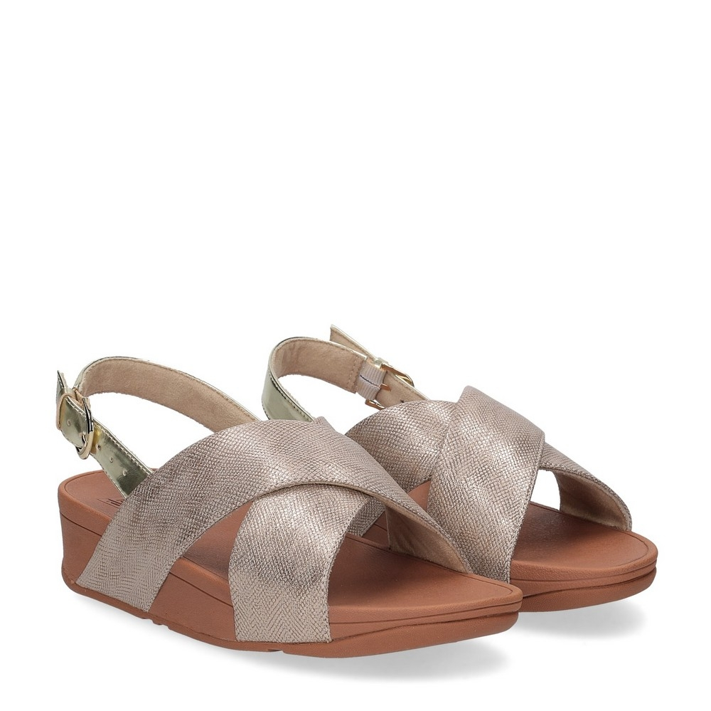 Fitflop Lulu Cross Back Strap Sandal shimmer print gold