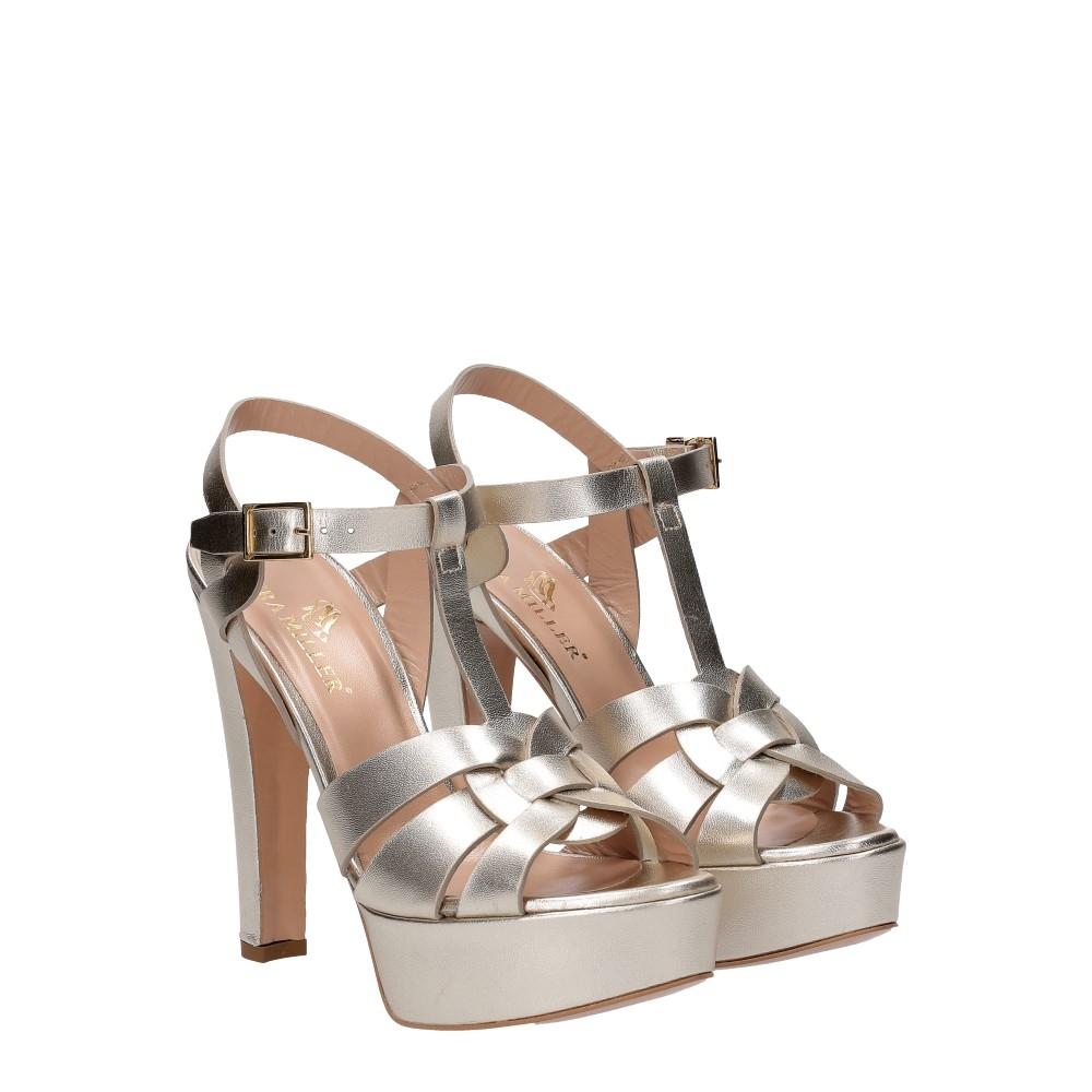 Vera Miller sandalo pelle laminata platino