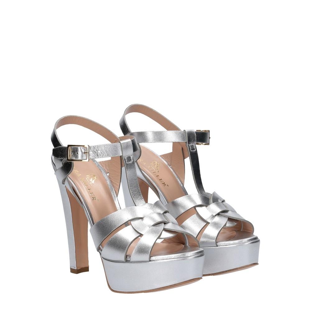 Vera Miller sandalo pelle laminata argento