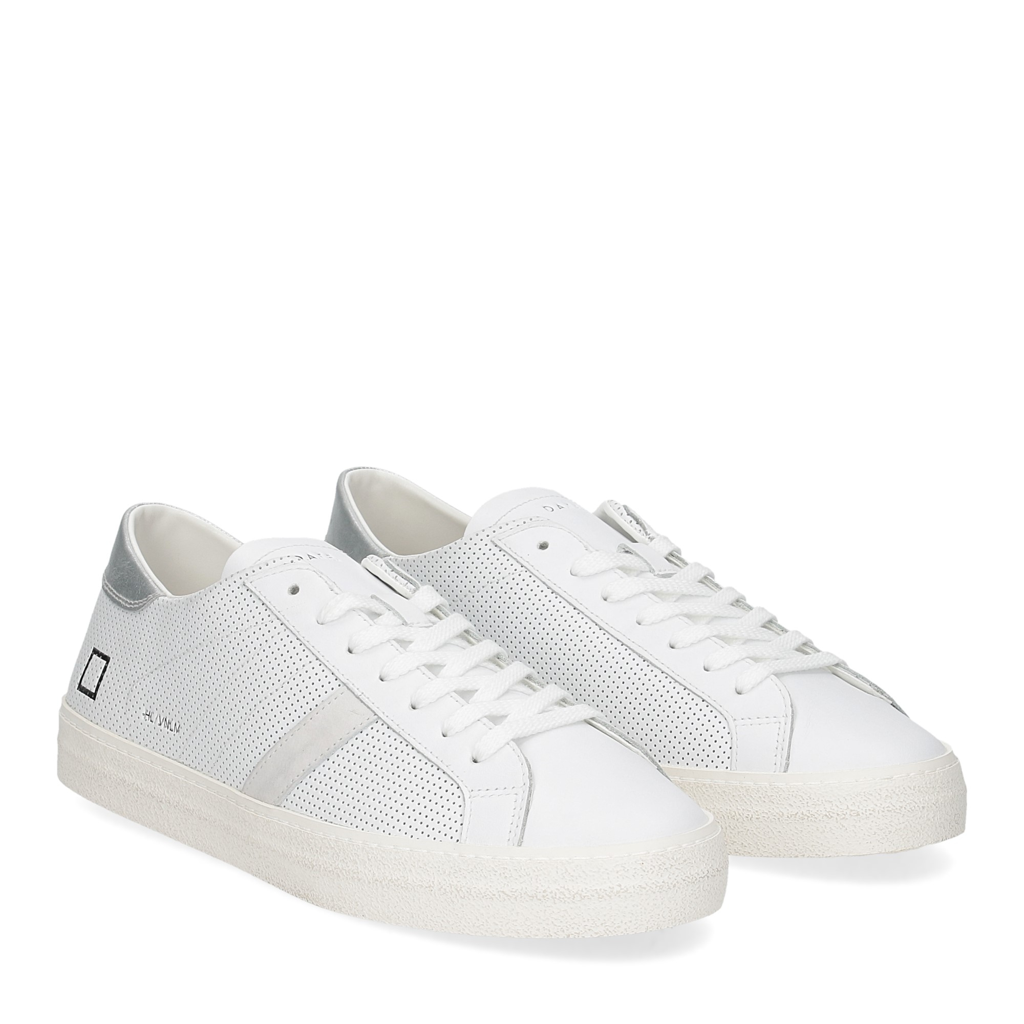 D.A.T.E. Hill low vintage perforated white silver
