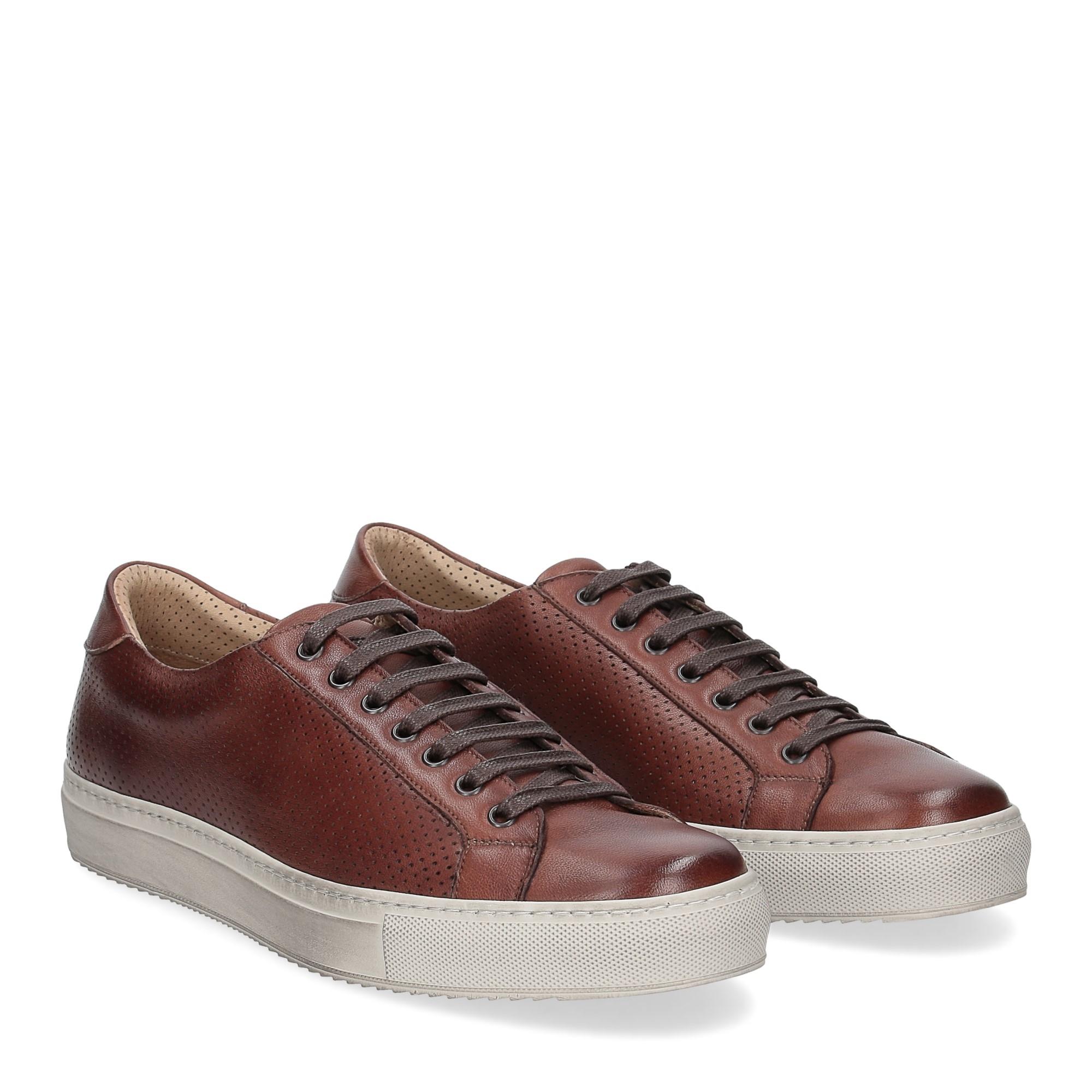 Griffi's sneaker 1102 pelle forata marrone