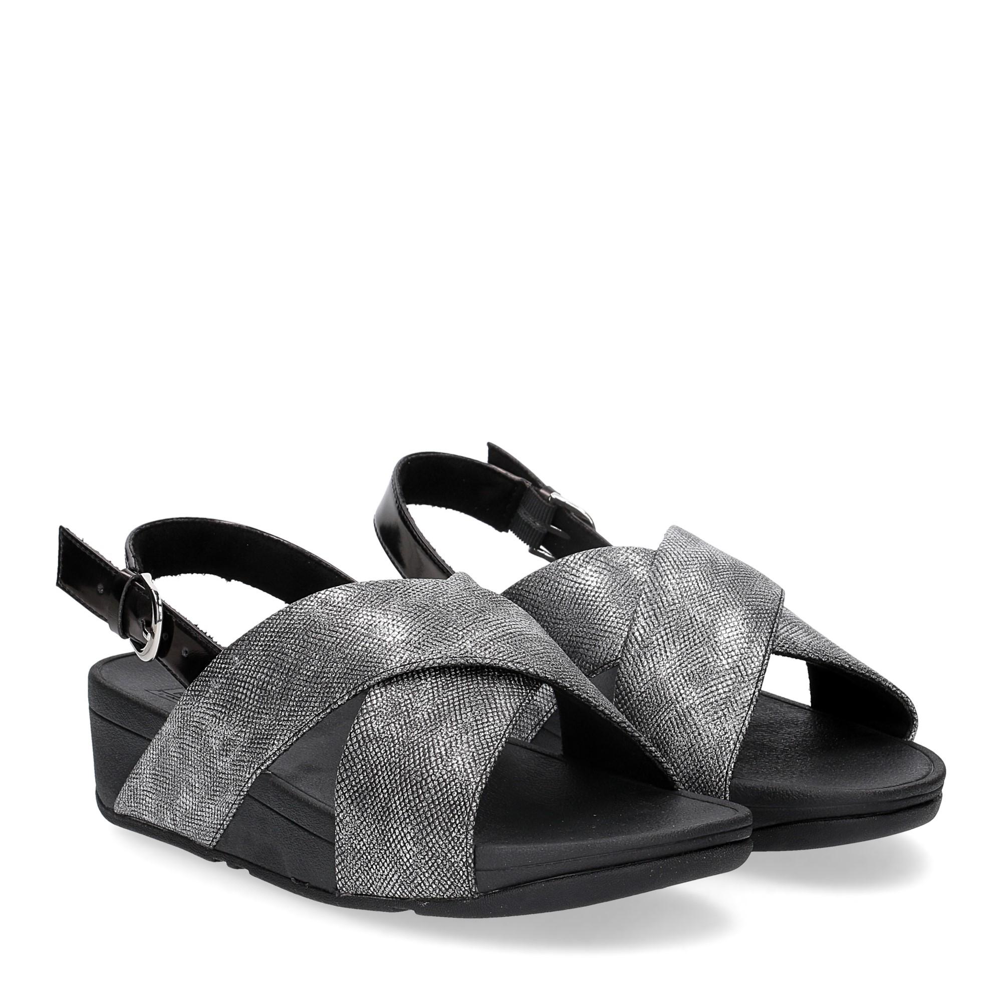 Fitflop Lulu Cross Back Strap Sandal shimmer print black