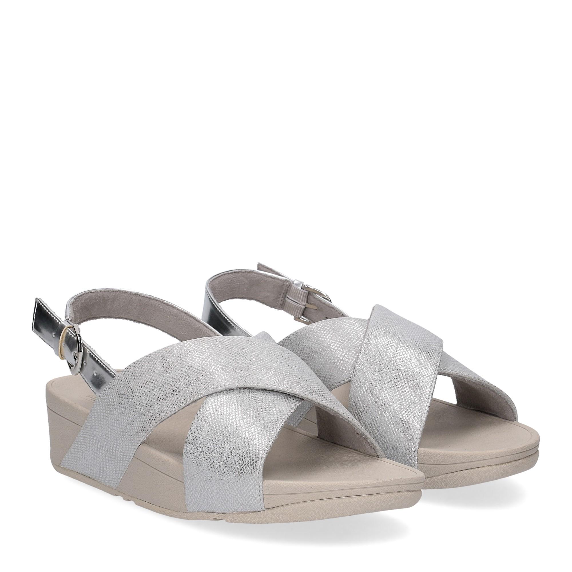 Fitflop Lulu Cross Back Strap Sandal shimmer print silver
