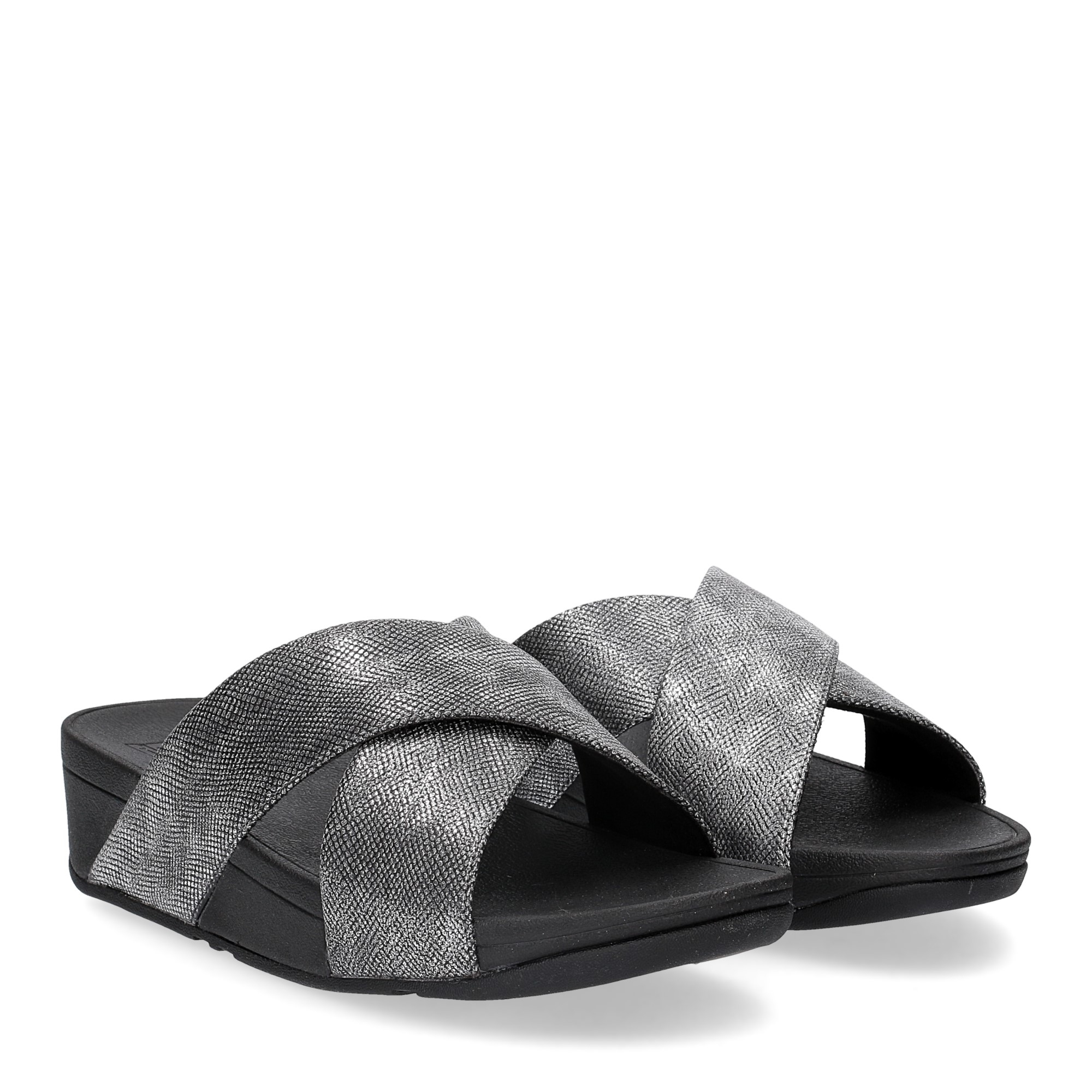Fitflop Lulu Cross Back Strap Slide shimmer print black