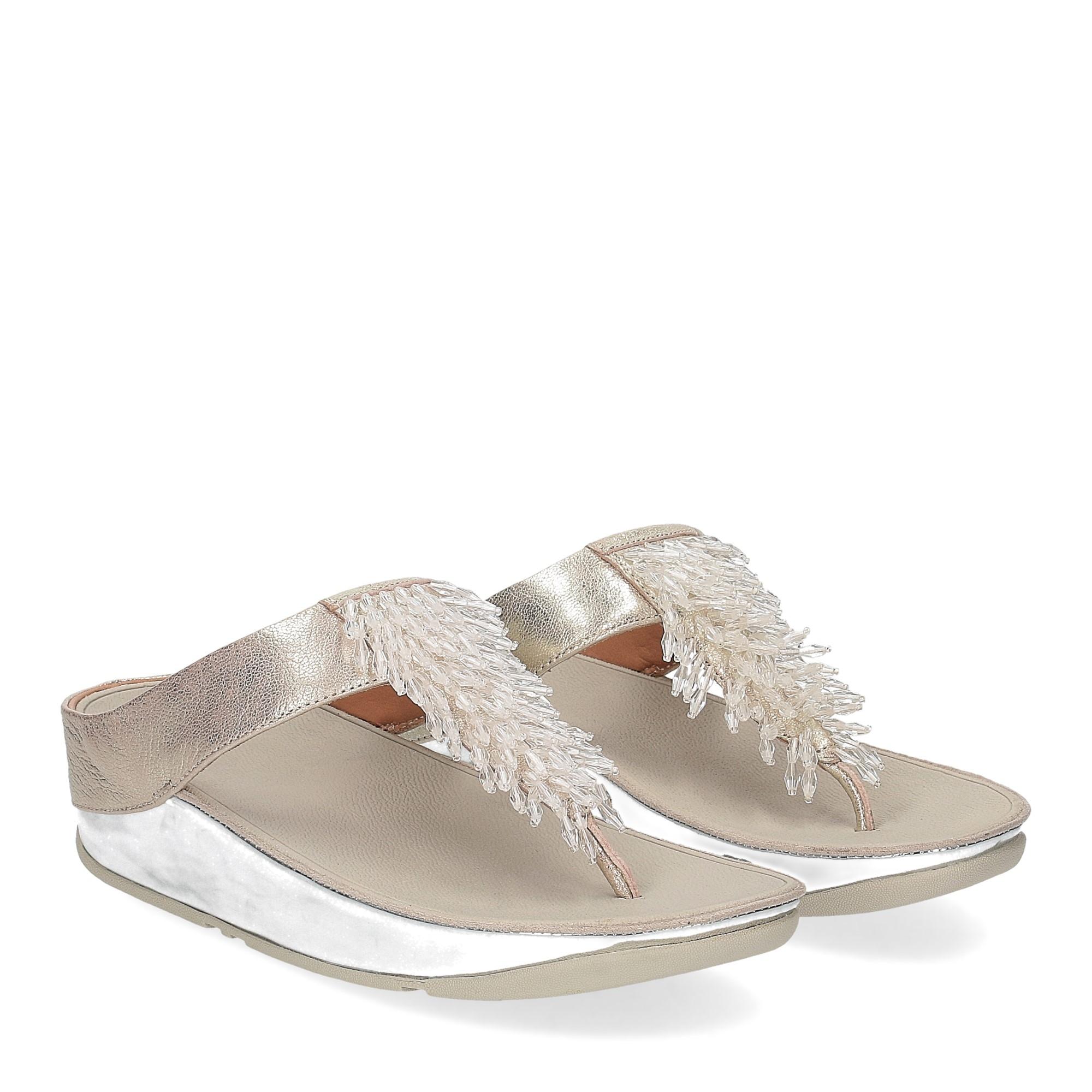 Fitflop Rumba toe thong sandal metallic silver