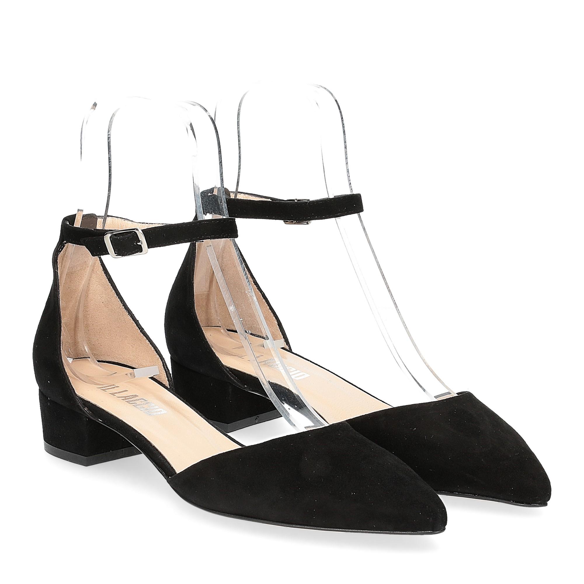 Il Laccio décolleté sandaliera camoscio nero